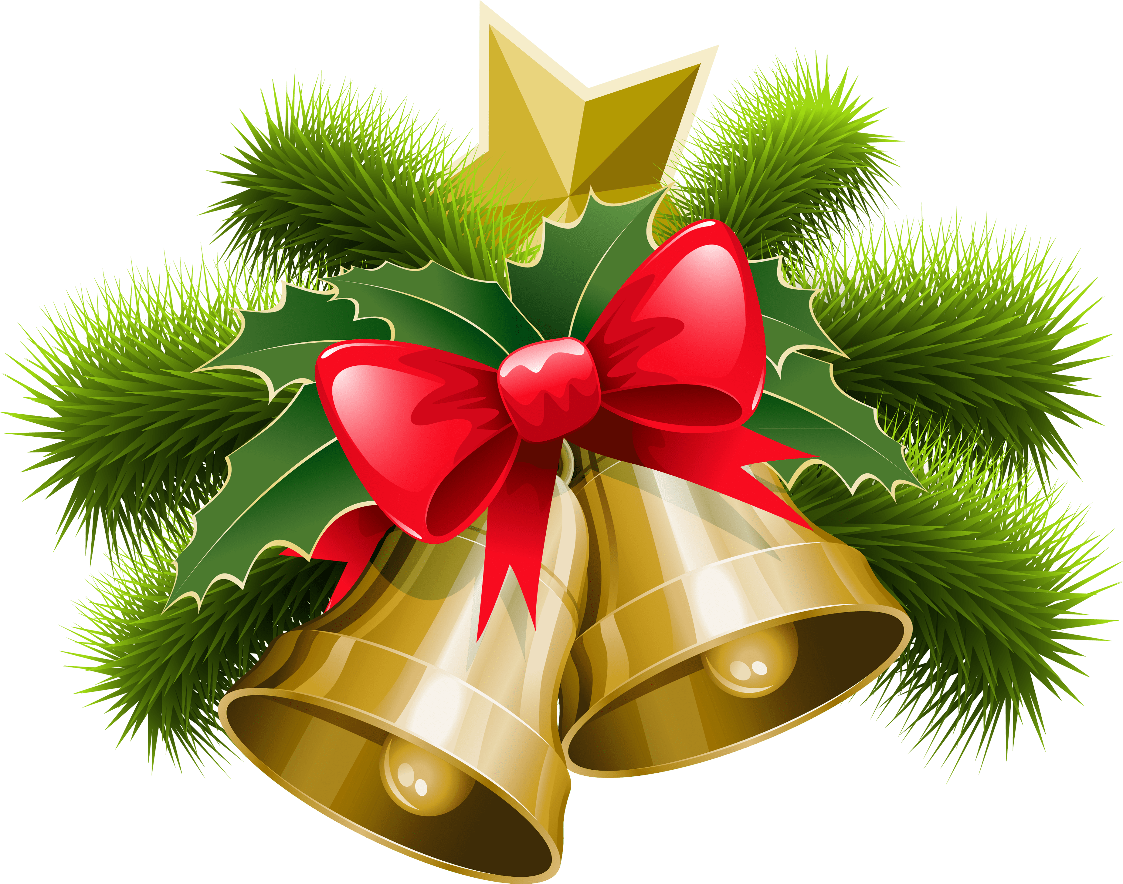 Large transparent christmas bells with bow png clipart