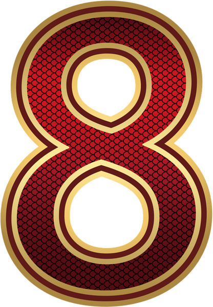 Birthday Balloons Transparent Background Red And Gold Number Eight Png Image