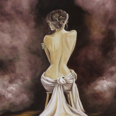 Painting of woman's nude back