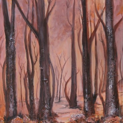 painting of trees without leaves