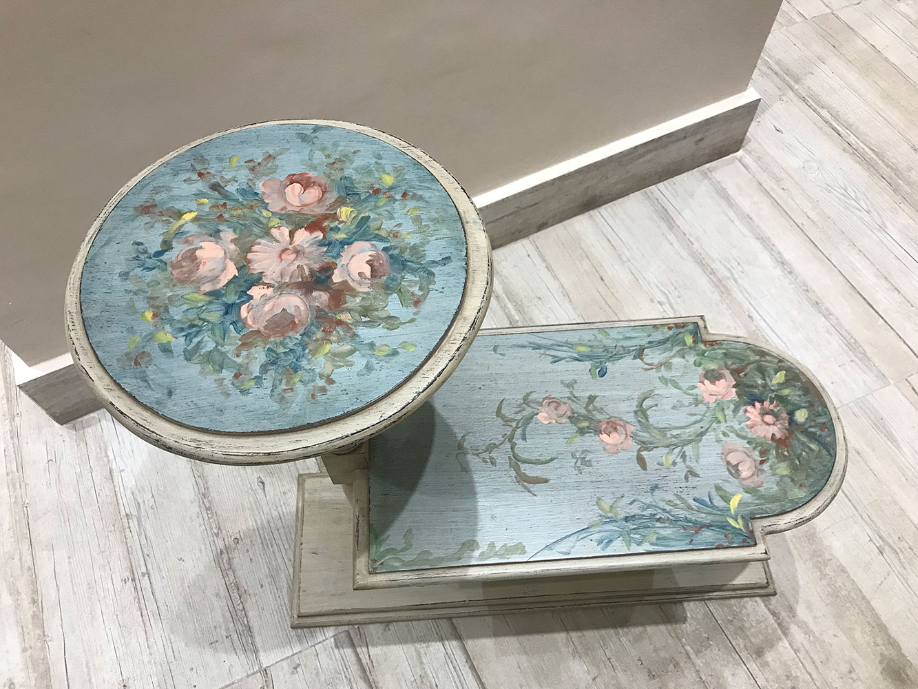 Two Levels Vintage Hand Painted Side Table Gallery Virago