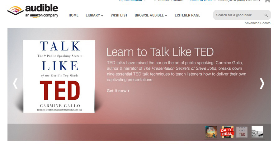 Talk Like TED audiobook is featured on Audible