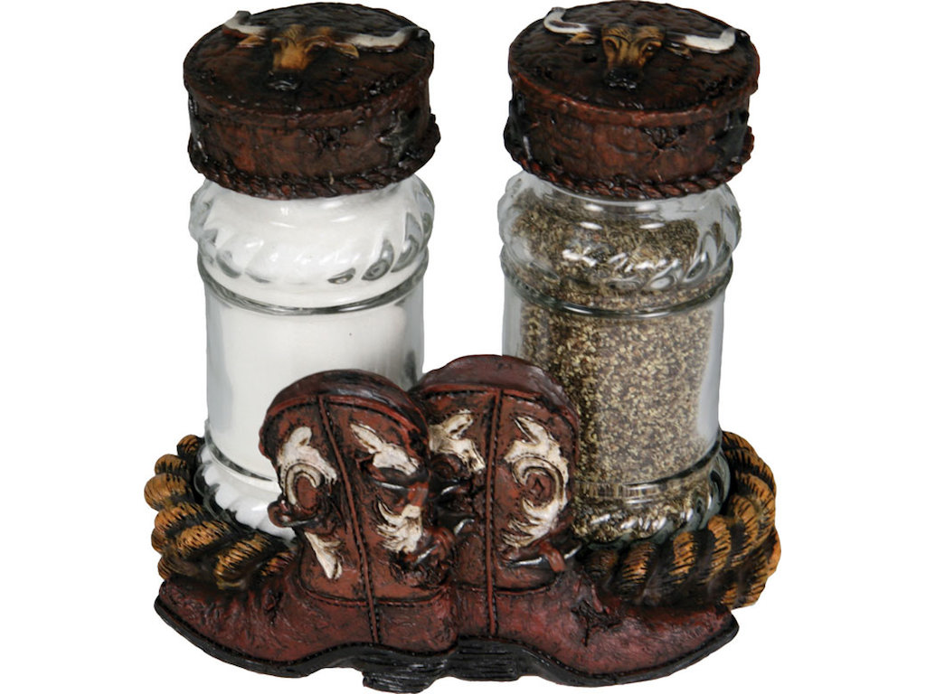 Salt Pepper Holder Salt And Pepper Shakers With Cowboy Boots Holder Gallop N