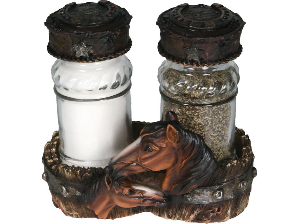 Salt Pepper Holder Salt And Pepper Shakers In A Mare And A Foal Holder Gallop