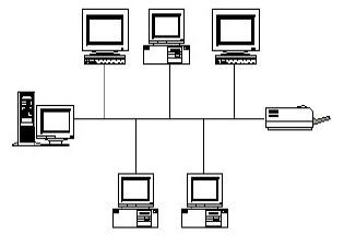 gambar jaringan komputer tipologi bus