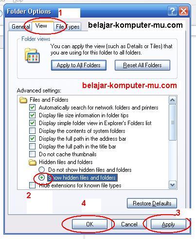cara menampilkan folder yang disembunyikan