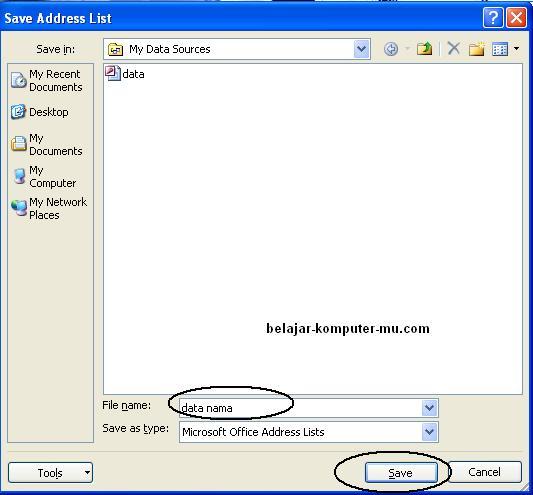cara membuat data mail merge pada microsoft word 2007