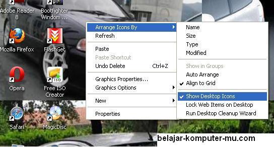 cara menyembunyikan icon desktop pada windows xp