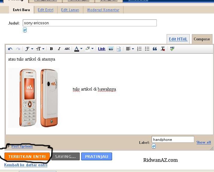 Cara Mengisi Artikel Blog di Blogspot