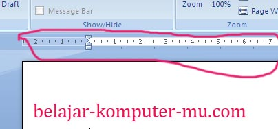 cara menampilkan ruler mistar penggaris word 2007 2010
