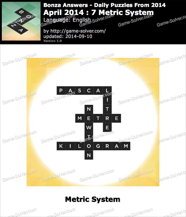 Bonza Answers April 2014 7 Metric System - Game Solver