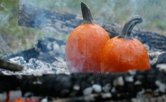 Pumpkins Cooking over Hot Coals