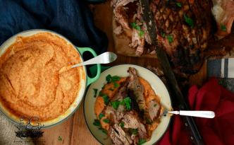 Crusty Crock Pot Pork over Pumpkin Polenta