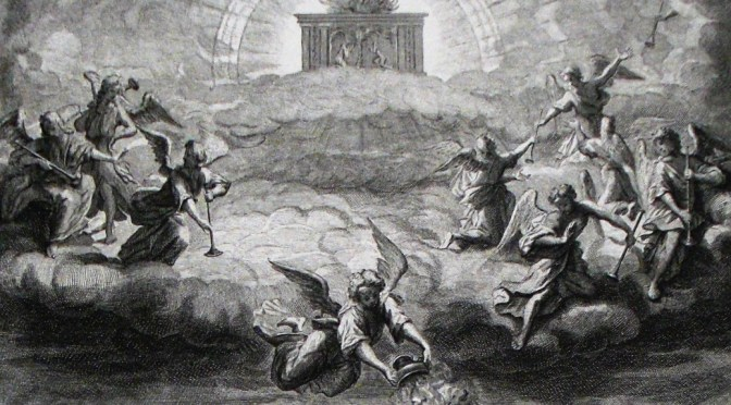 Apocalypse_8._Opening_the_seals._Revelation_cap_8_v_1-5._Mortier's_Bible._Phillip_Medhurst_Collection