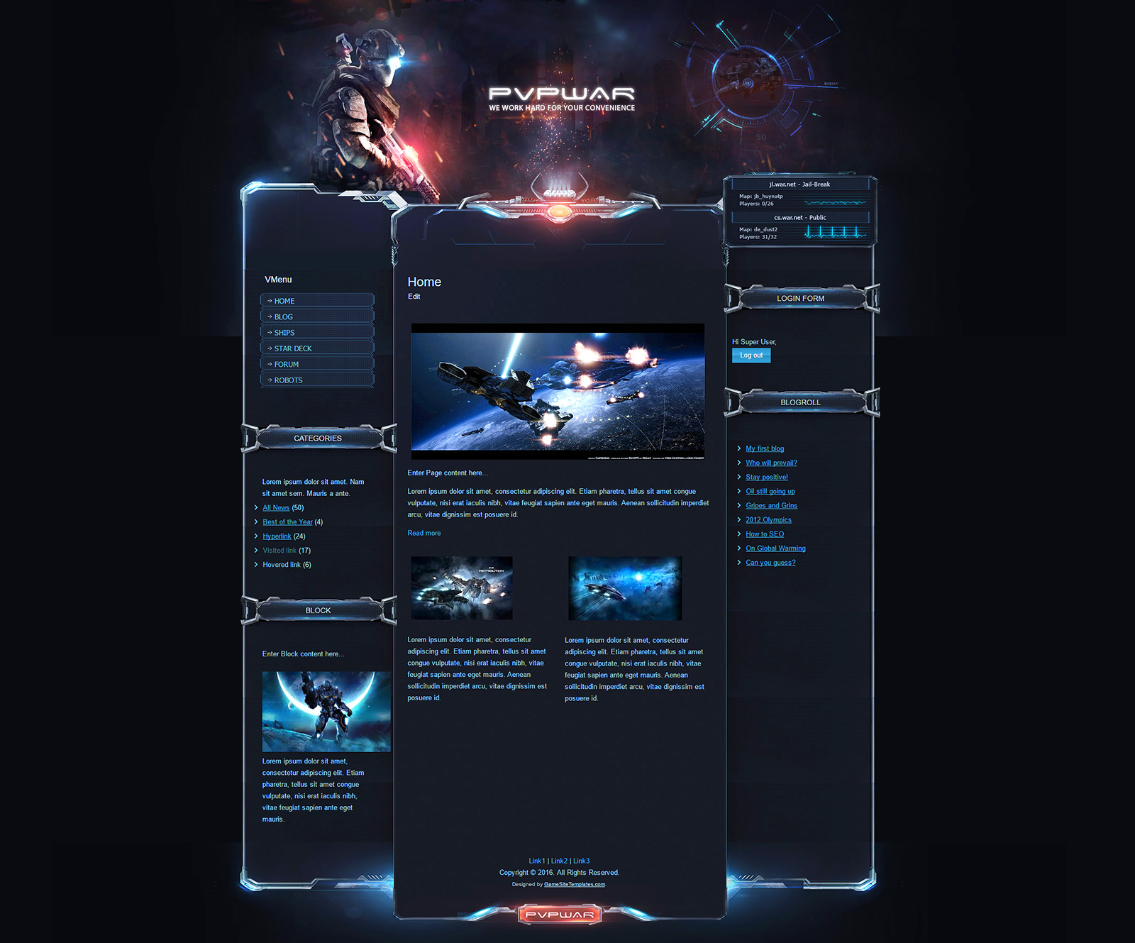 Cms Drupal Pvp War Wordpress Theme