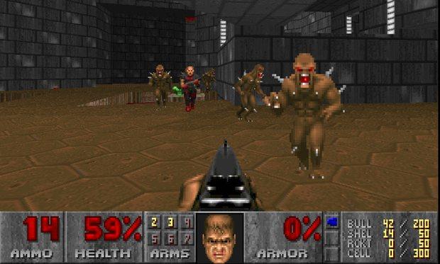 """Der Egoshooter """"Doom"""" 1993 - die Grafik war damals sehr """"verpixelt"""""""
