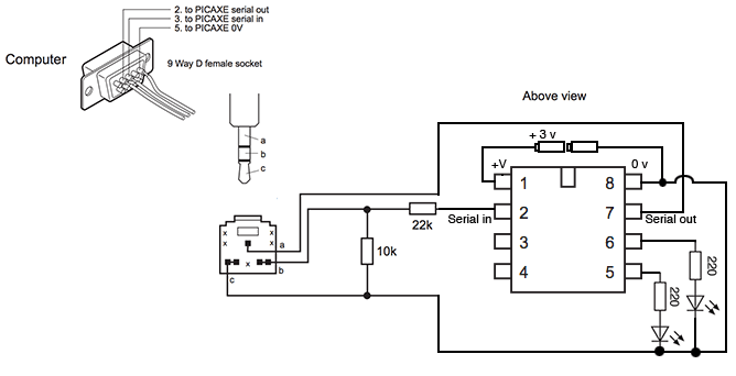 picaxe enhanced serial programming circuit