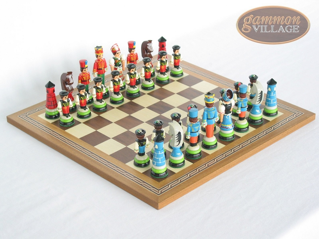 Chess Board Sale Hungarian Szur Chessmen With Spanish Mosaic Chess Board