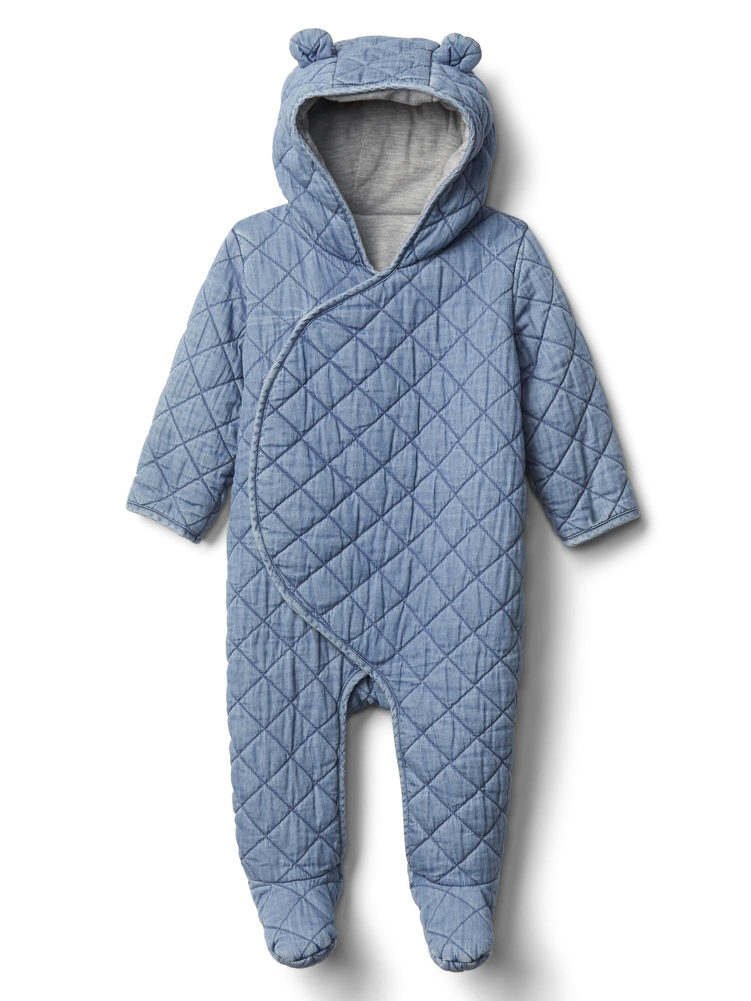 Babyone Baby Jogger Quilted Chambray Bear One Piece
