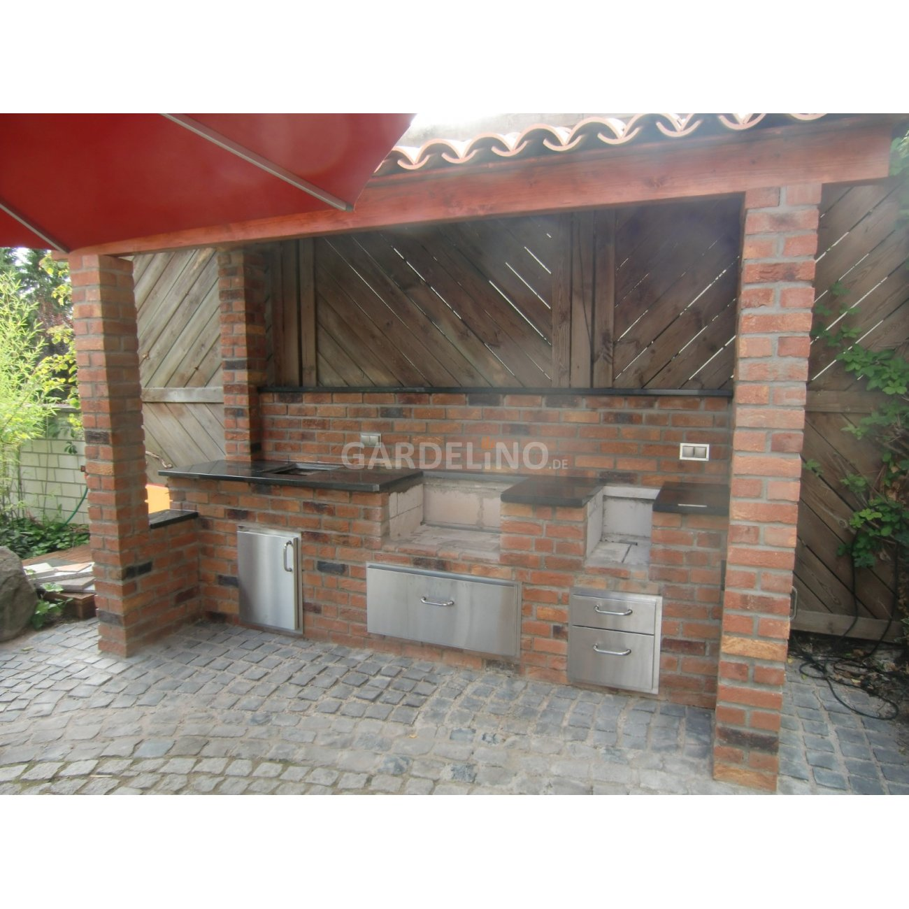 Outdoor Küche Gardelino Outdoorküche Aus Backstein Mit Fire Magic Einbau Gasgrill