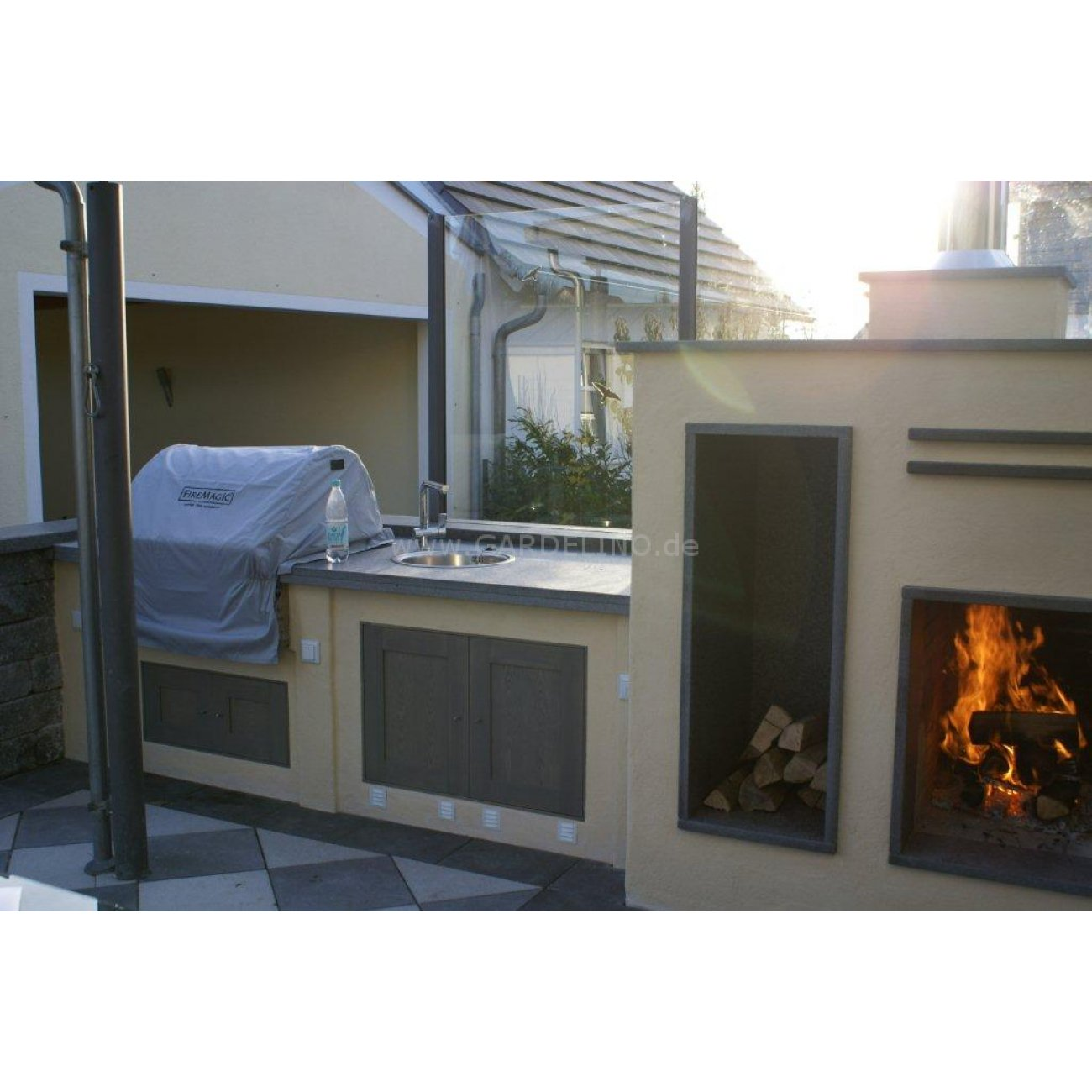 Outdoor Küche Smoker Gemauerte Outdoorküche Mit Fire Magic Grill