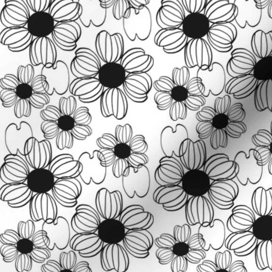 Photo Design Noir Et Blanc Fabric By The Yard Fleur Noir Et Blanc