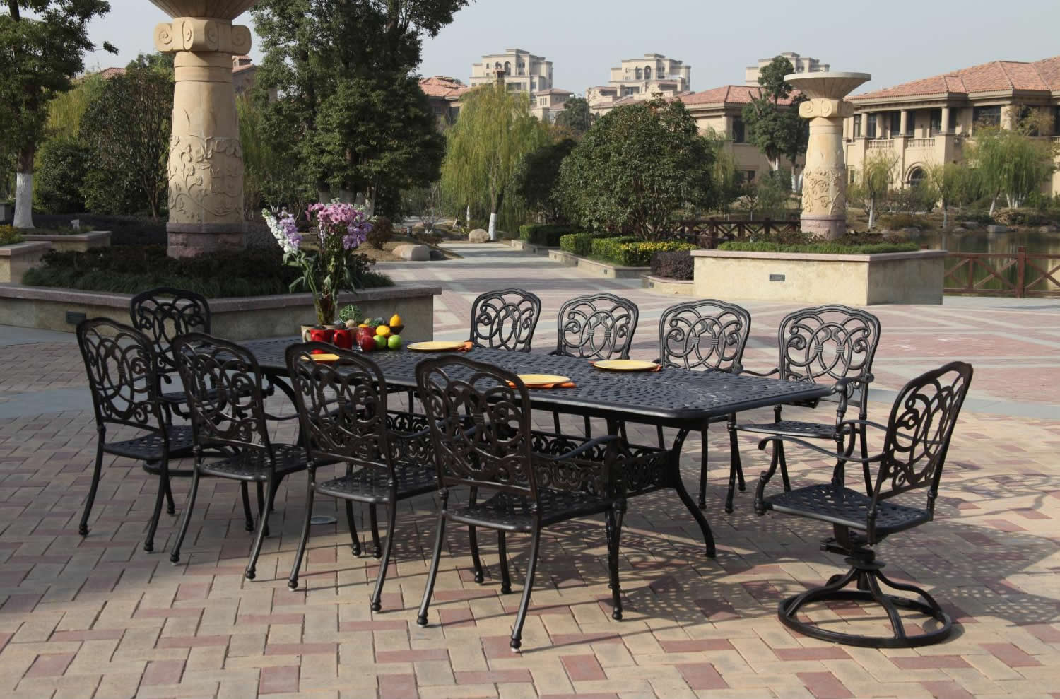 Outdoor Patio Furniture Dining Table Patio Furniture Dining Set Cast Aluminum 92 120 Extension Table 11pc Florence