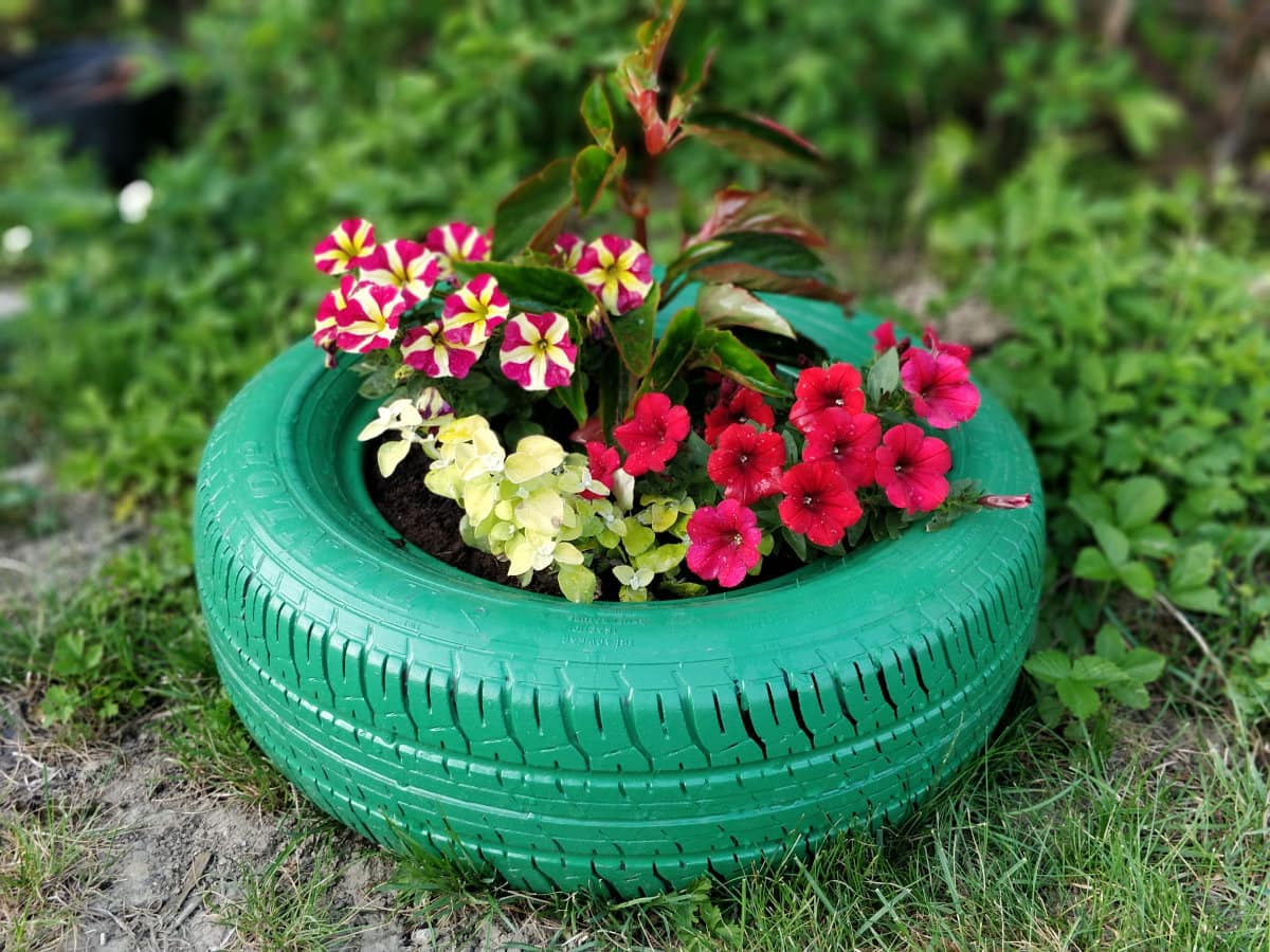 Upcycle Recycle Old Tyres To Make Awesome Plants And Tree Beds Diy Project Idea