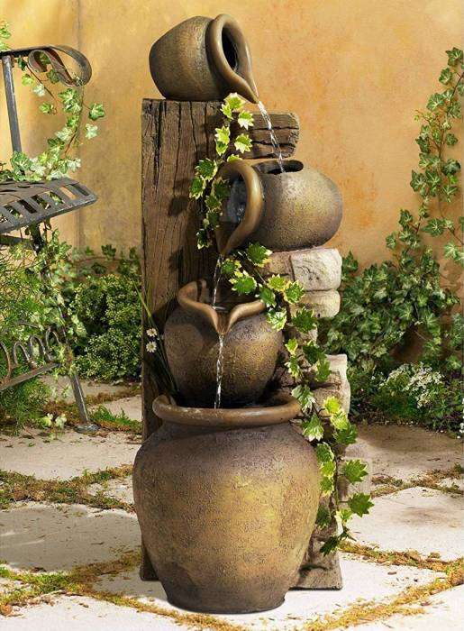 Outdoor 33 John Timberland Rustic Floor Water Fountain Three Jugs ...