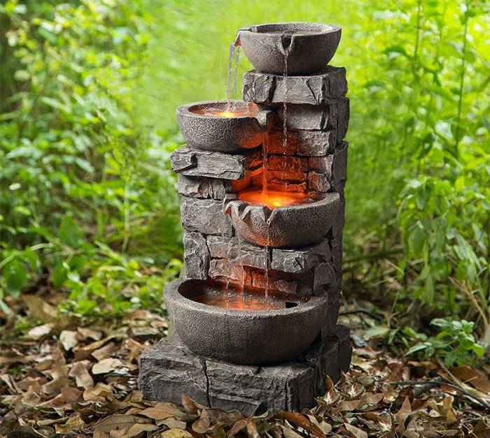 Outdoor 33 Peaktop 201601pt Outdoor Garden Water Stacked 3 Tier Bowls ...