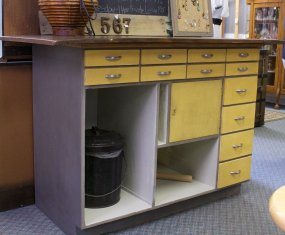 old drugstore counter becomes workstation