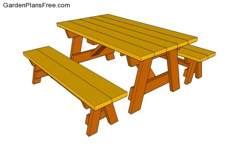 Picnic Table Plans Detached Benches woodworking basic joinery ...