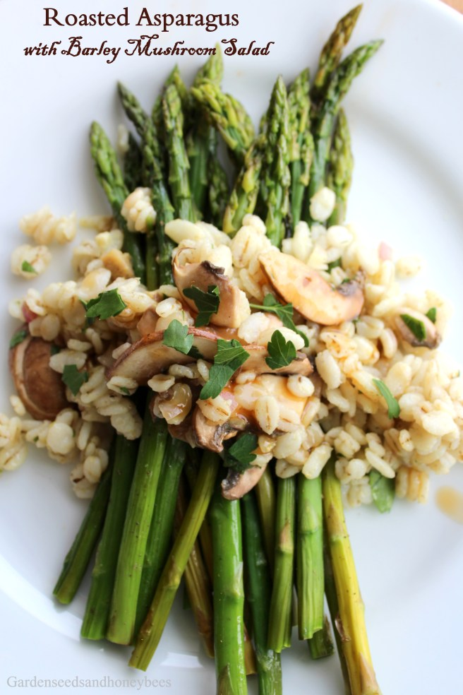 Roasted Asparagus with Barley Mushroom Salad