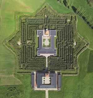 Labirinto della Masone from the air. Fontanellato, Italy