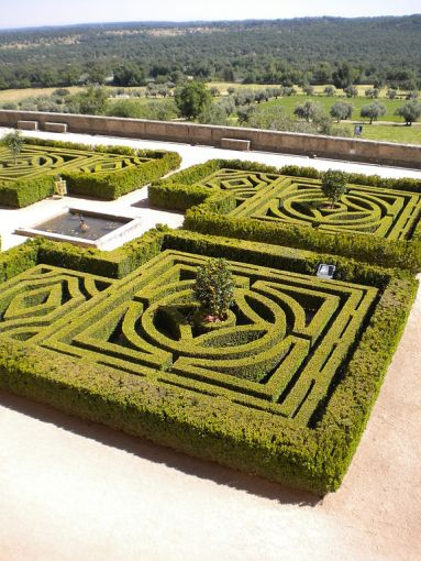 Monastery El Escorial, near Madrid, Spain. Gardens with maze pattern for walking. Photo Daytonarolexboston