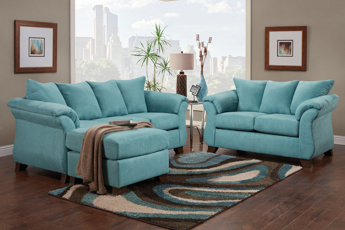 Sofa Set Color Blue Taffy Living Room Collection