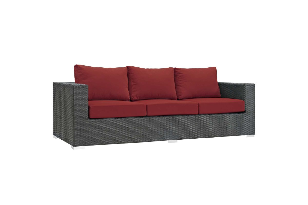 Sofa Rattan Sojourn Outdoor Patio Wicker Rattan Sunbrella Sofa In Red By Modway