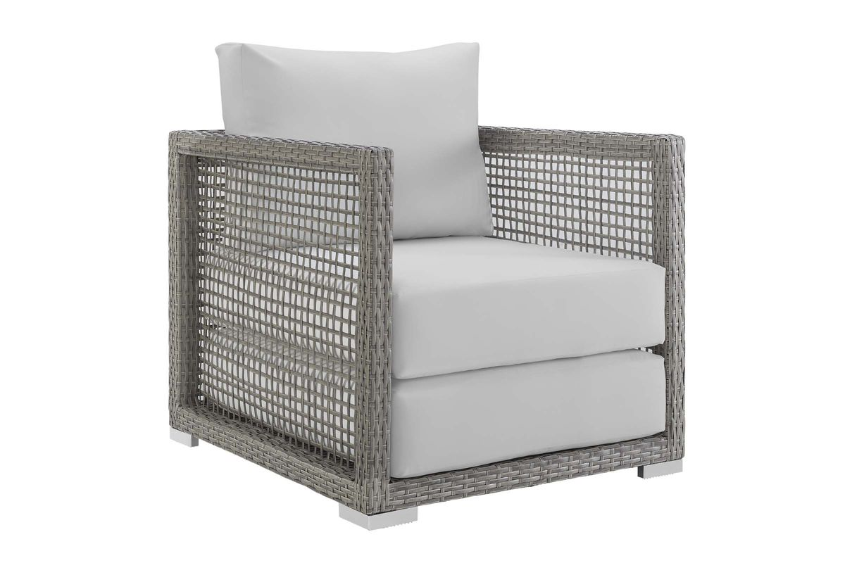 Rattan Twin Sofa Aura Rattan Outdoor Patio Armchair In White By Modway