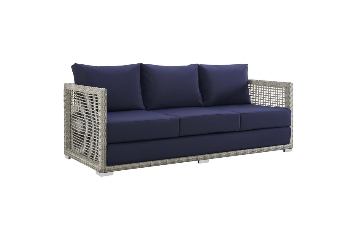 Sofa Rattan Aura Outdoor Patio Wicker Rattan Sofa In Navy By Modway
