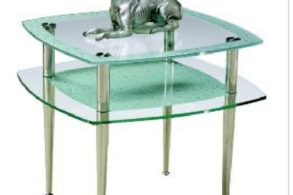 White Metal End Table Rain Drop Glass And Metal End Table At Gardner White