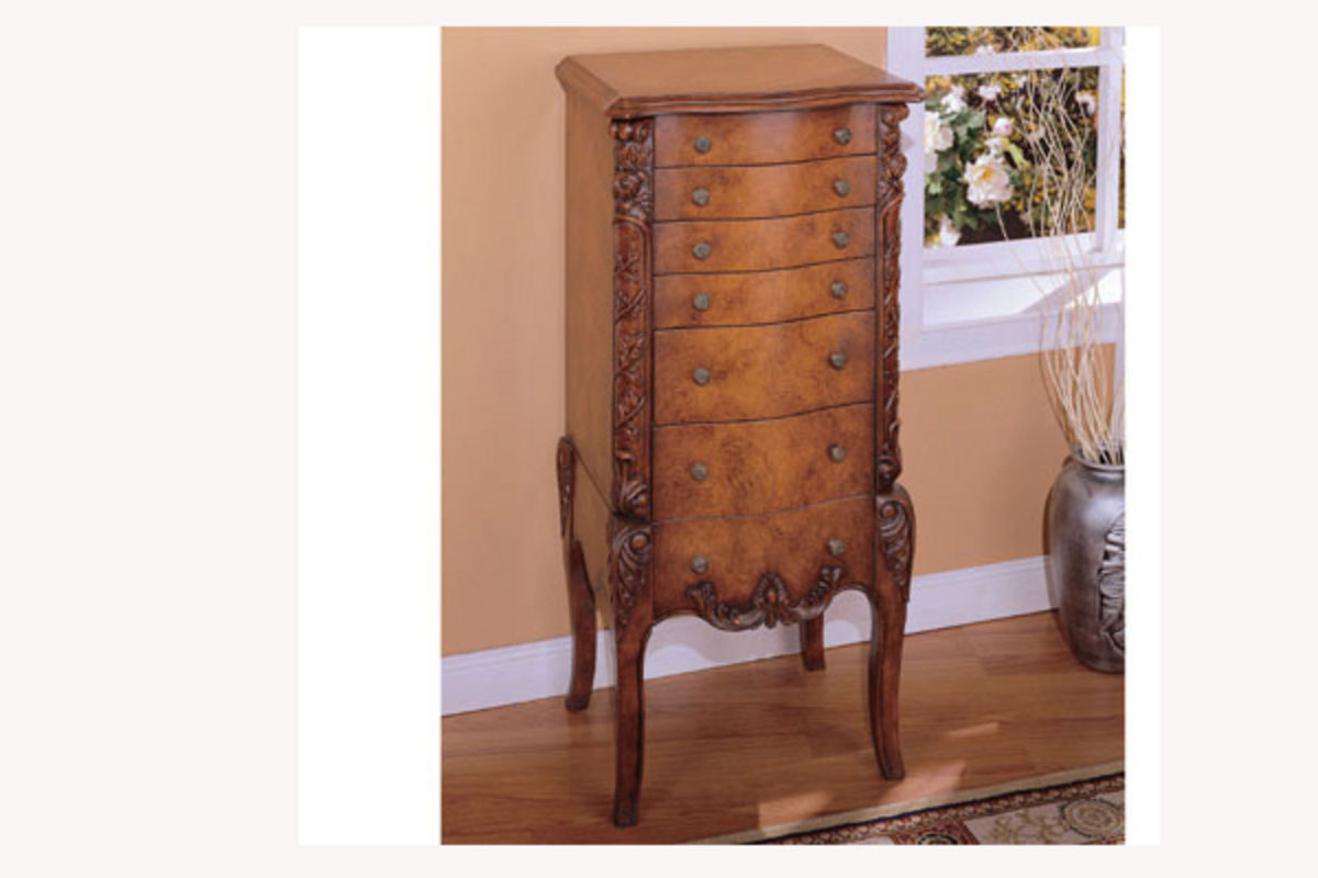 Armoire Habits Masterpiece Faux Burl Jewelry Armoire