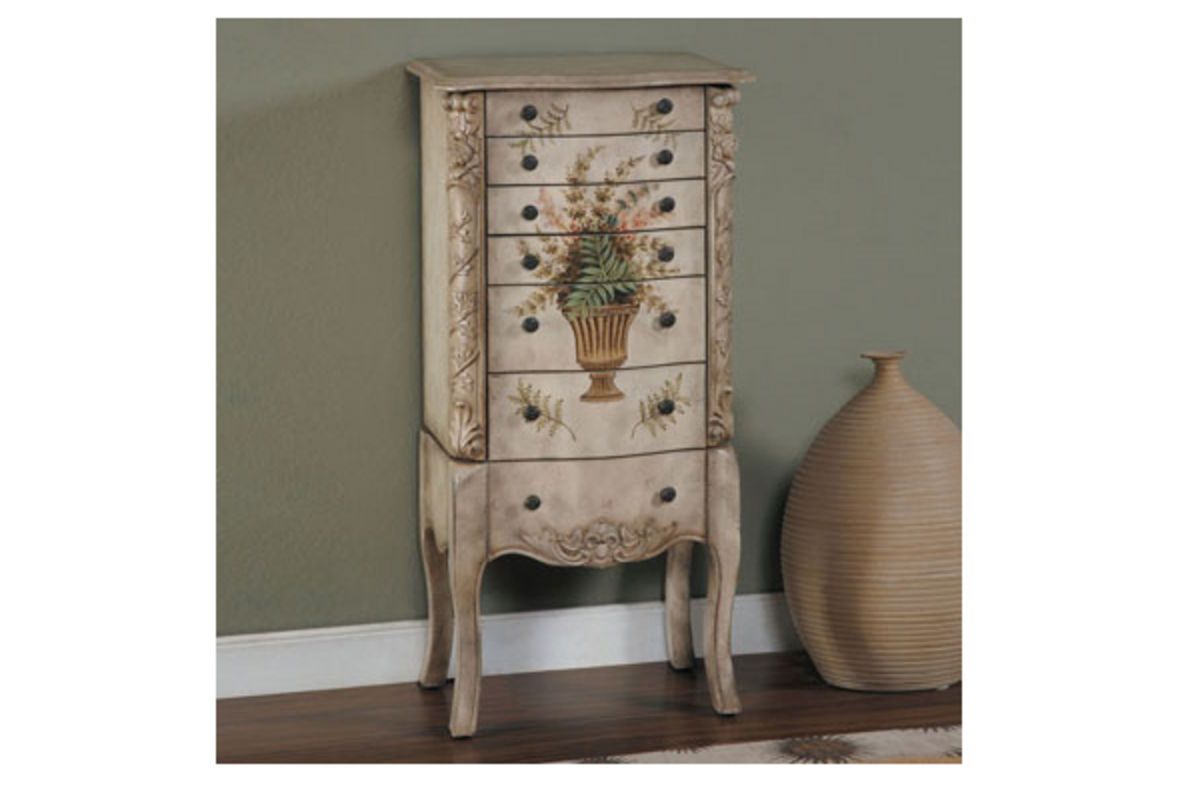 Armoire Habits Masterpiece White Hand Painted Jewelry Armoire