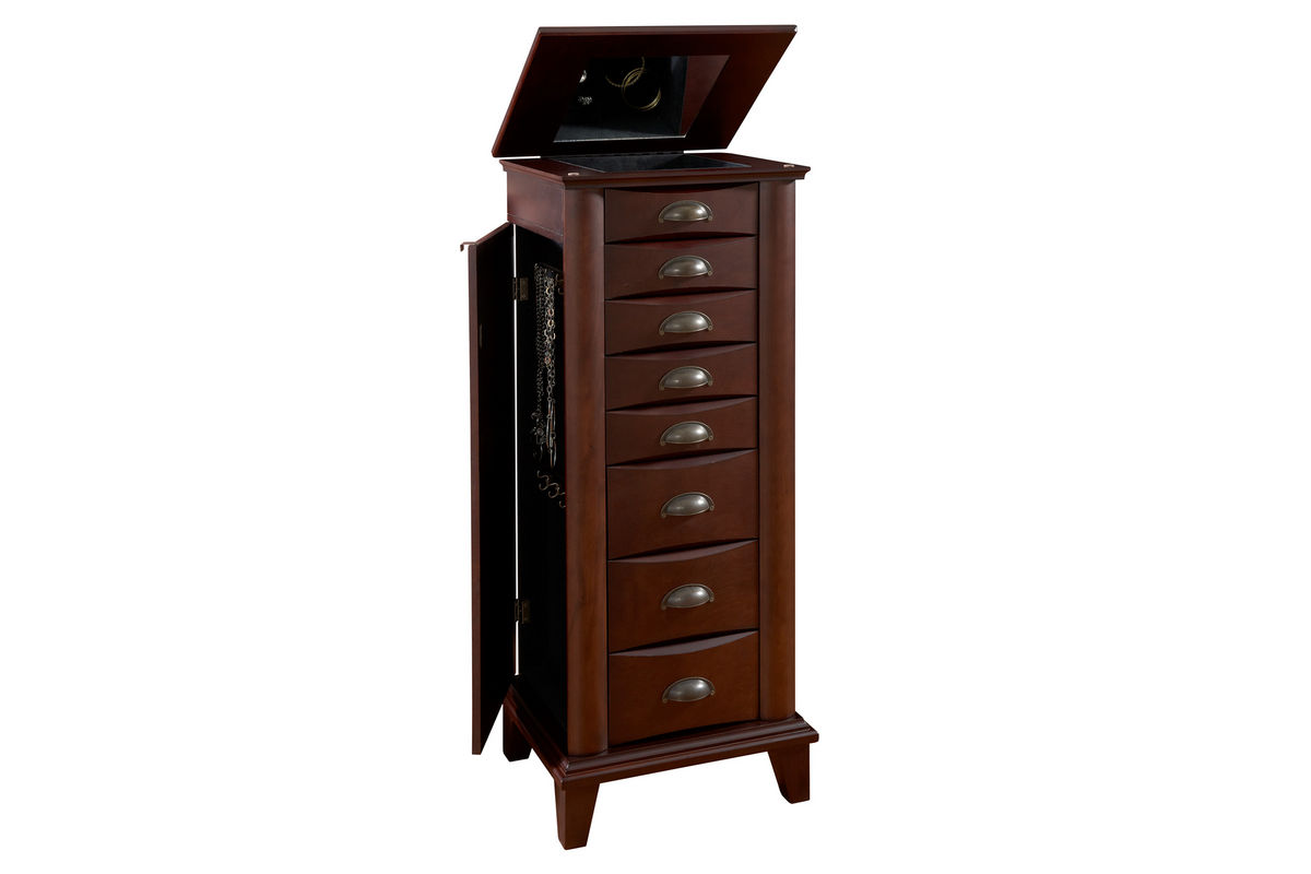 Armoire Habits Merlot Jewelry Armoire With Brushed Nickel Hardware Powell 383 319