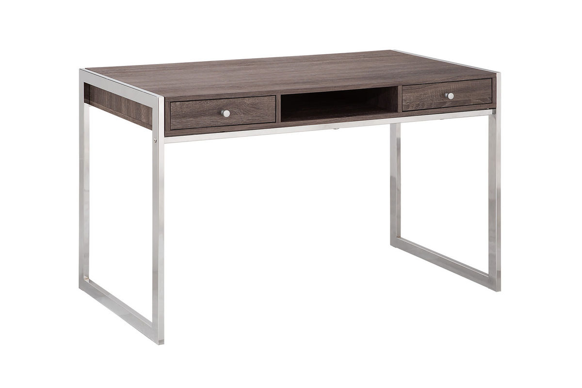 White Desk With Chrome Legs Weathered Grey Desk With Chrome Legs 801221 At Gardner White