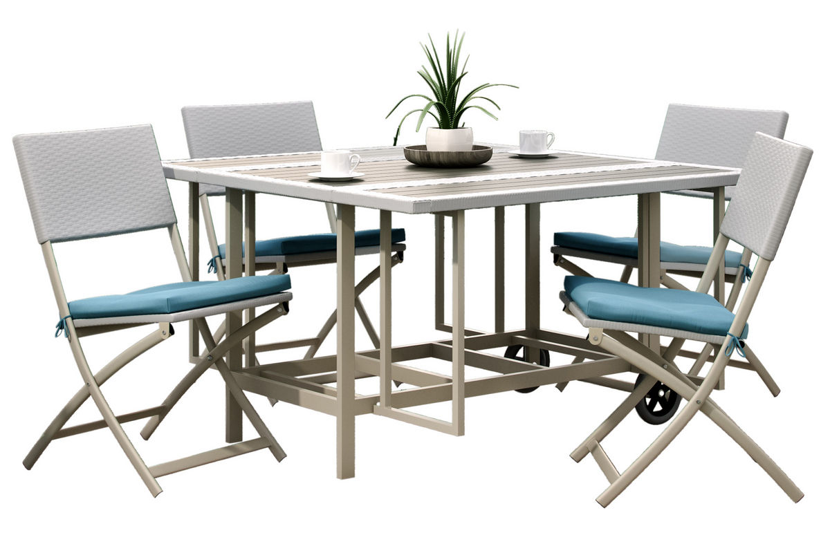 Folding Dining Room Set Nantucket 5 Piece Stowable Folding Patio Dining Set At