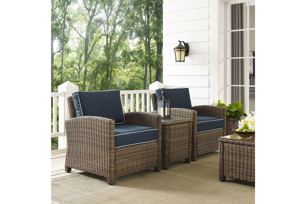 3 Piece Outdoor Table And Chairs Bradenton Navy 3 Piece Outdoor Chairs And Table Set By Crosley