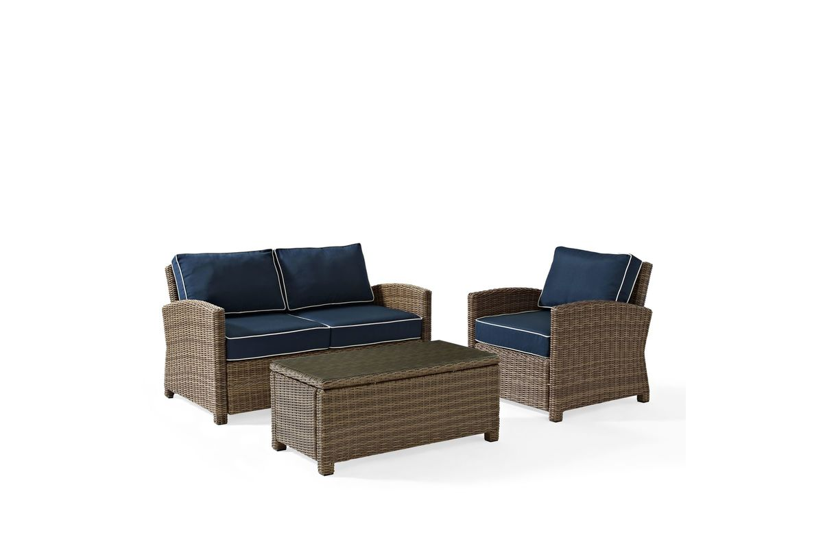 3 Piece Outdoor Table And Chairs Bradenton Navy 3 Piece Outdoor Loveseat Chair And Table