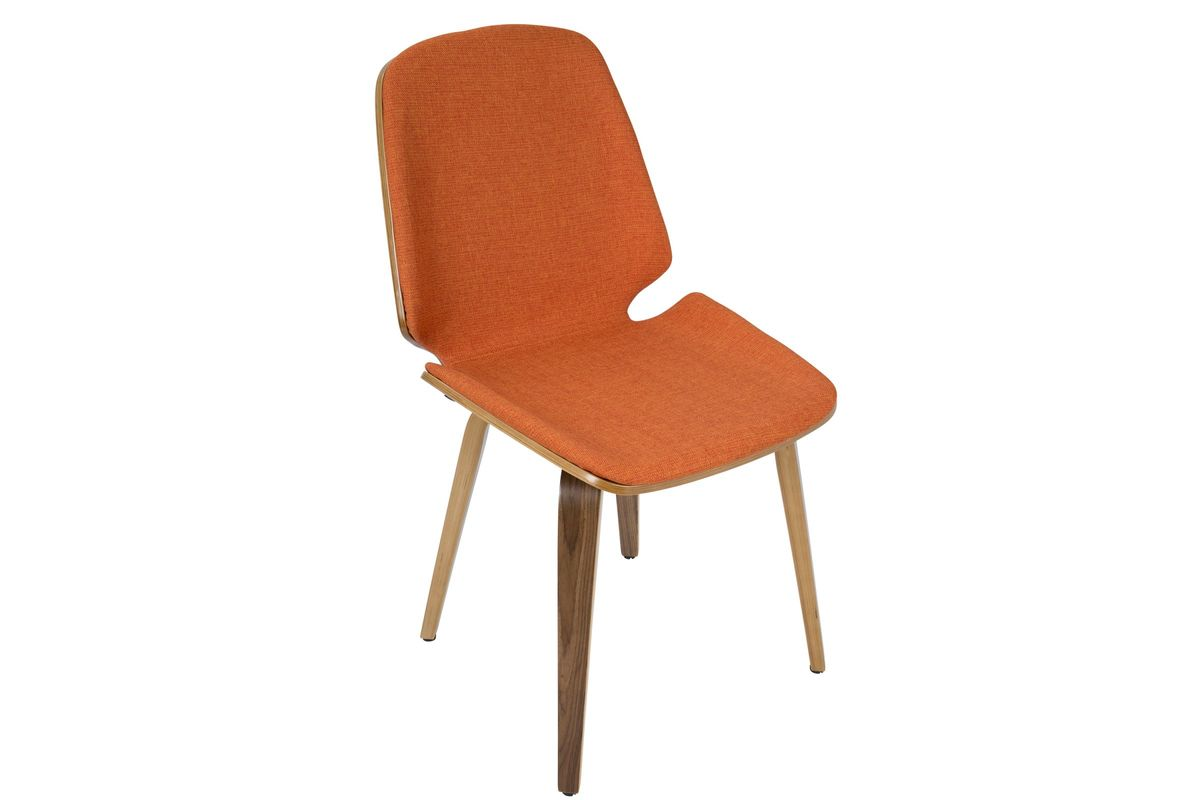 Orange Mid Century Modern Chair Serena Mid Century Modern Dining Chairs In Orange Set Of