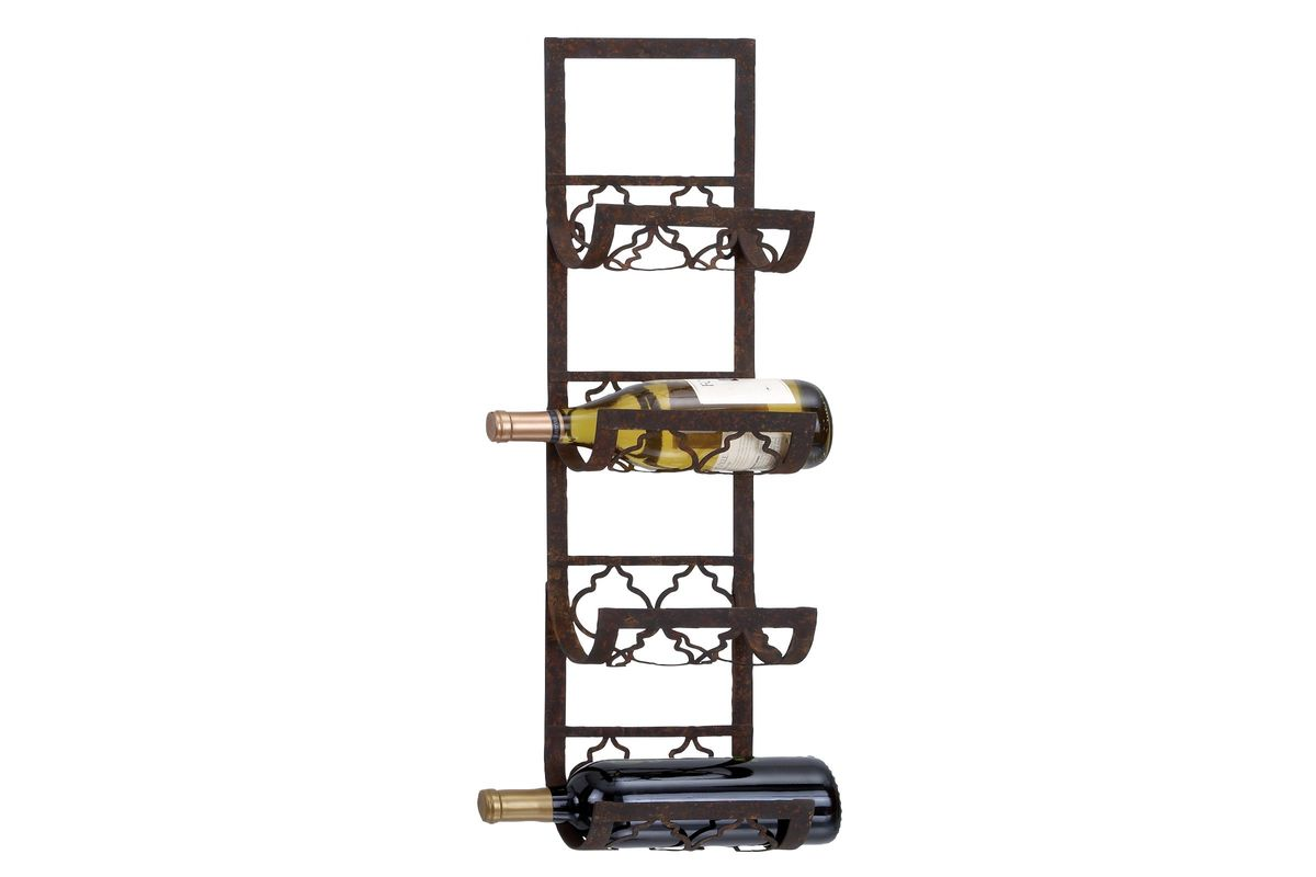 White Wall Wine Rack Wine Country Cartouche Wall Wine Rack In Rust Brown At