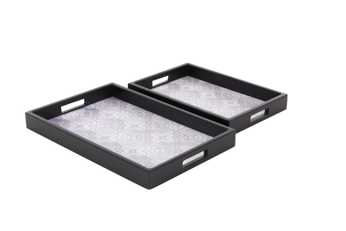 Black Serving Tray Modern Reflections Short Wooden Trays Set Of 2 In Matte Black With Floral Design